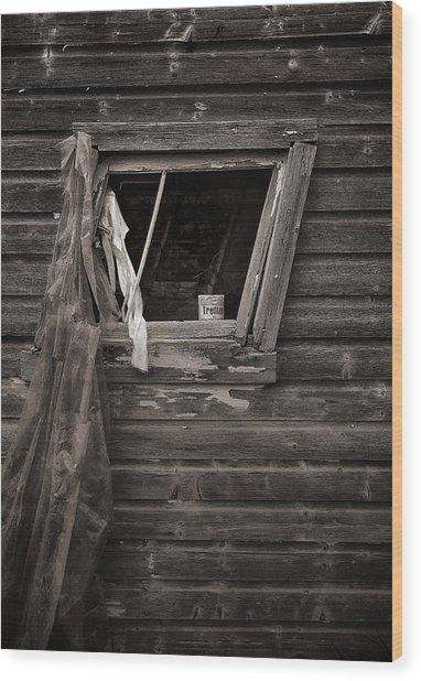 Leaning Window Wood Print