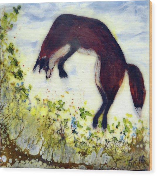 Leaping Fox 1 Wood Print
