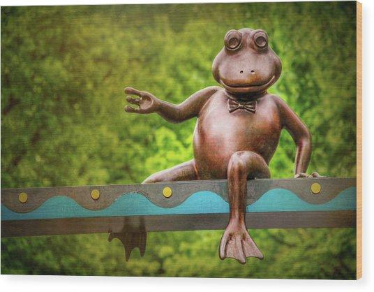 Leaping Frog In Boston  Wood Print by Carol Japp