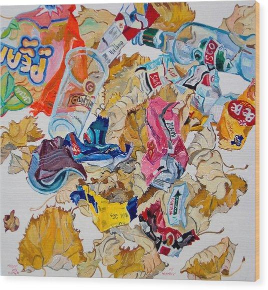 Leaves And Rubbish Wood Print by Vitali Komarov