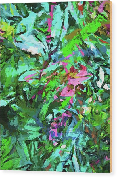 Leaves Buds Green Pink Wood Print
