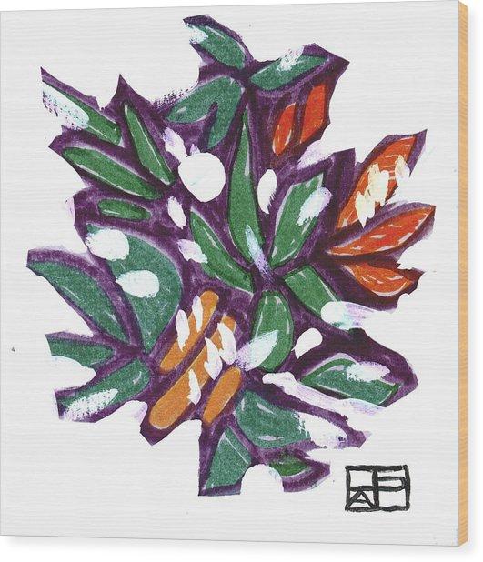 Leaves In Snow Wood Print by Helen Pisarek