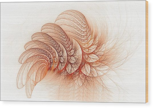 Leaves Of The Fractal Ether-2 Wood Print