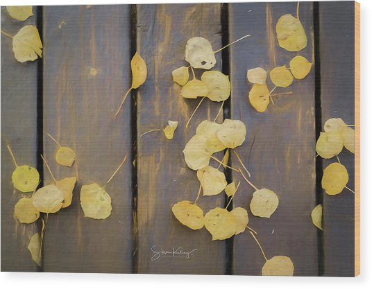 Leaves On Planks Wood Print