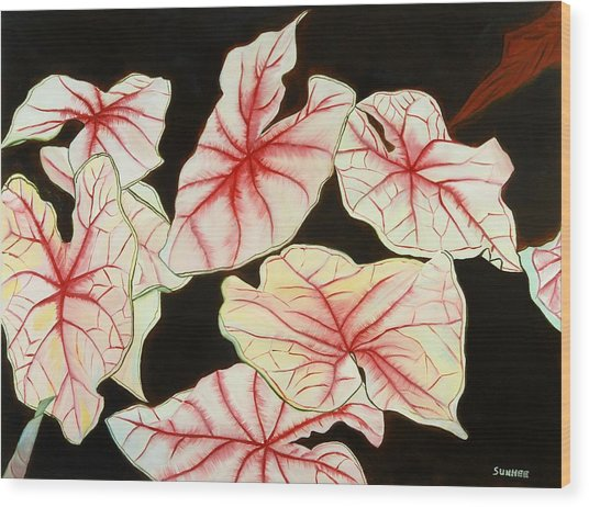 Leaves Wood Print by Sunhee Kim Jung