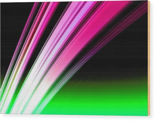 Leaving Saturn In Hot Pink And Green Wood Print