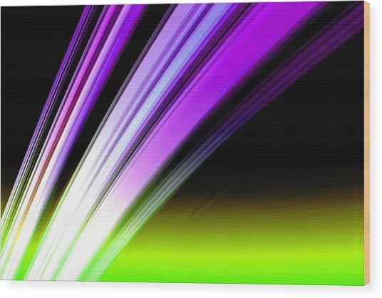 Leaving Saturn In Purple And Electric Green Wood Print