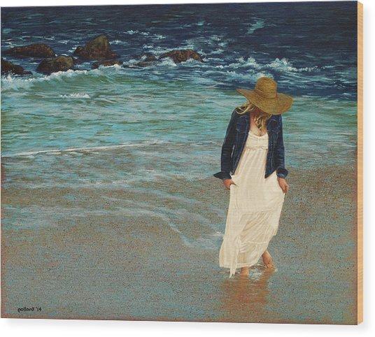 Leaving The Beach Wood Print