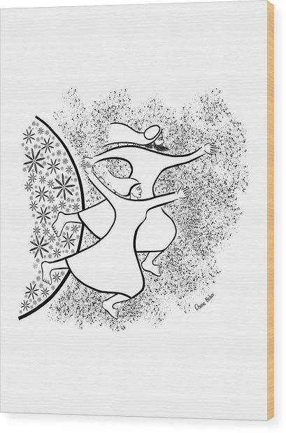 Leaving The Garden Wood Print by Chana Helen Rosenberg