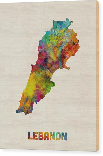 Lebanon Watercolor Map Wood Print