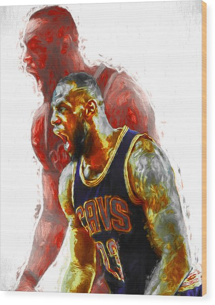 Lebron James 23 1 Cleveland Cavs Digital Painting Wood Print