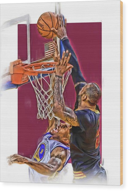 Lebron James Cleveland Cavaliers Oil Art Wood Print