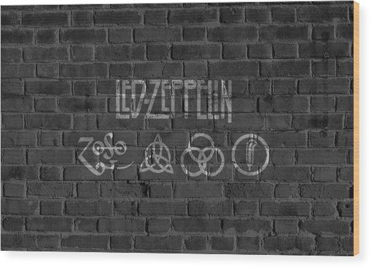 Led Zeppelin Brick Wall Wood Print