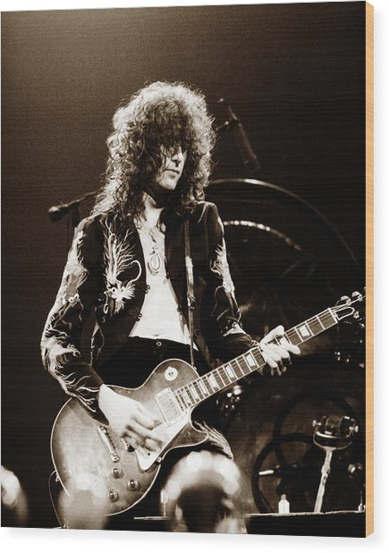 Led Zeppelin - Jimmy Page 1975 Wood Print