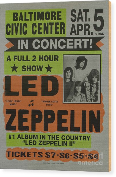 Led Zeppelin Live In Concert At The Baltimore Civic Center Poster Wood Print