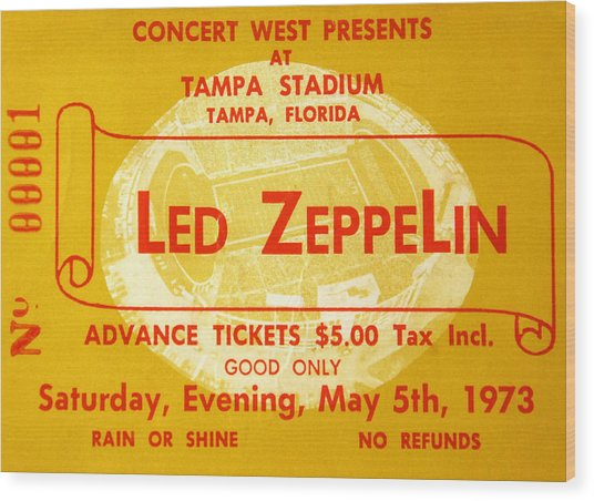 Led Zeppelin Ticket Wood Print