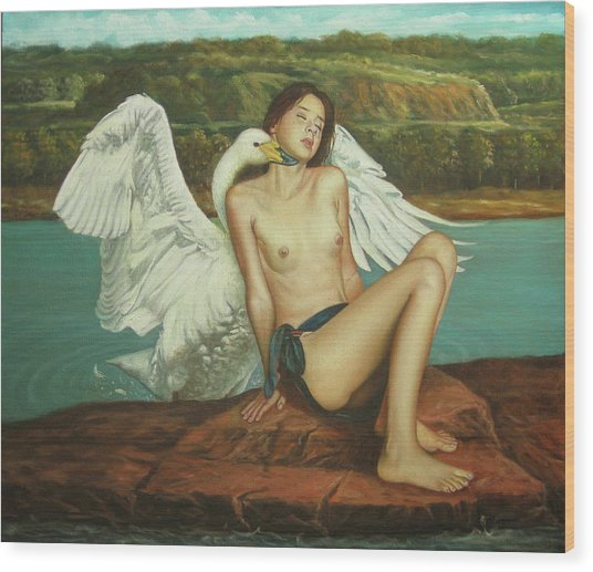 Leda And The Swan - Passionate Wood Print by Giovanni Rapiti