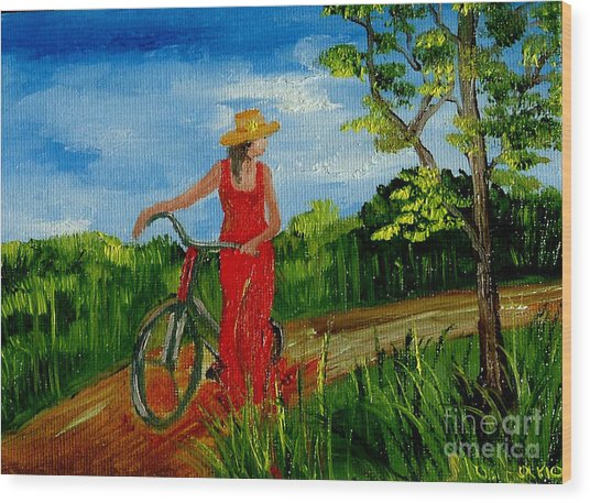 Ledy With The Bike Wood Print by Inna Montano