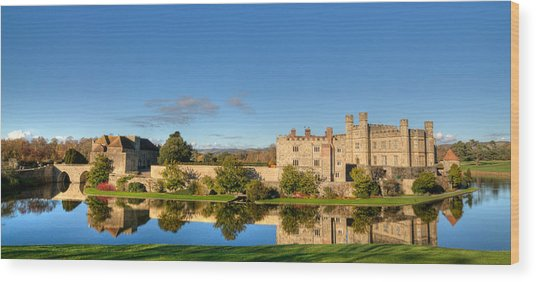 Leeds Castle And Moat Reflections Wood Print