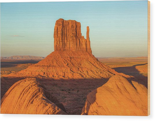 Left Mitten Sunset - Monument Valley Wood Print