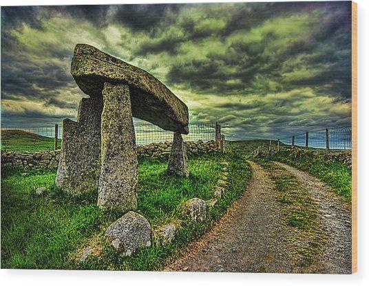Legananny Dolmen Wood Print by Kim Shatwell-Irishphotographer