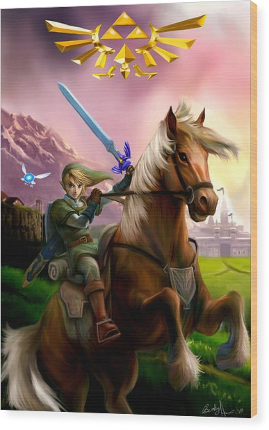 Legend Of Zelda- Link And Epona Wood Print by Becky Herrera