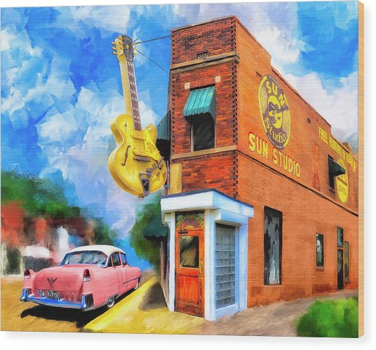 Wood Print featuring the mixed media Legendary Sun Studio by Mark Tisdale