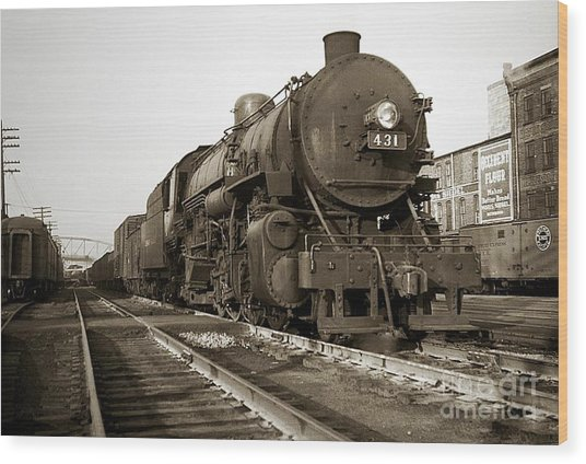Lehigh Valley Steam Locomotive 431 At Wilkes Barre Pa. 1940s Wood Print