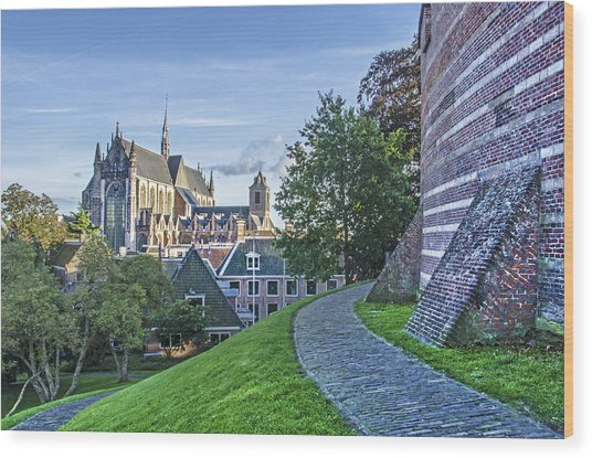 Leiden, The Church And The Castle Wood Print