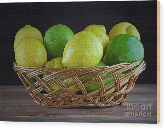 Lemon And Lime Basket Wood Print