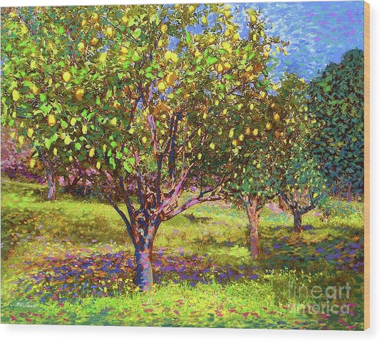 Lemon Grove Of Citrus Fruit Trees Wood Print