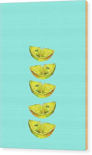 Lemon Slices Turquoise Wood Print