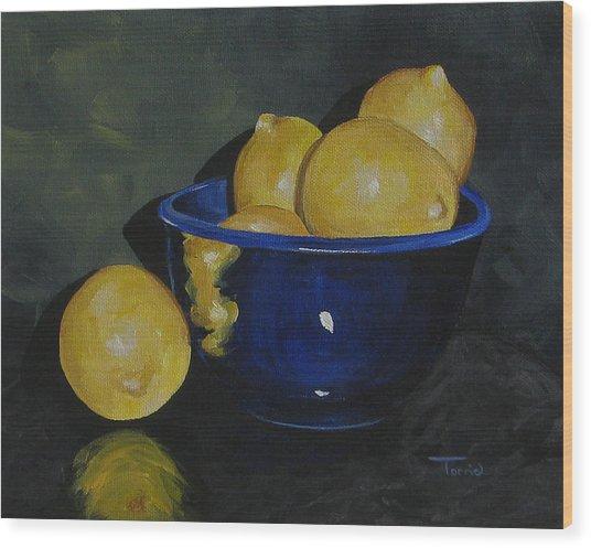 Lemons And Blue Bowl IIi Wood Print