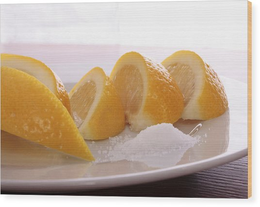 Lemons Wood Print by Christin Burrows