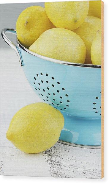 Lemons In Blue Wood Print