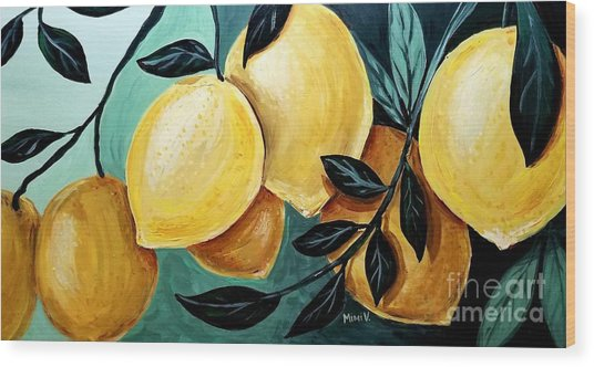 Wood Print featuring the painting Lemons by Maria Langgle
