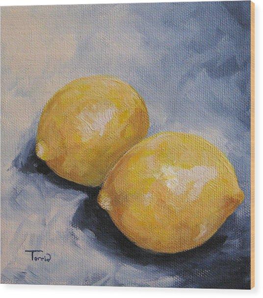 Lemons On Blue  Wood Print by Torrie Smiley