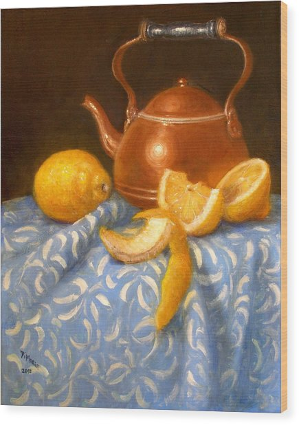 Lemons With Copper Teapot Wood Print by Donelli  DiMaria