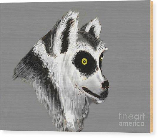 Lemur Wood Print by Alfredo Lozano