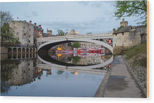 Lendal Bridge Reflection  Wood Print