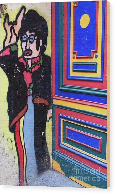 Lennon In Berlin Wood Print by John Rizzuto