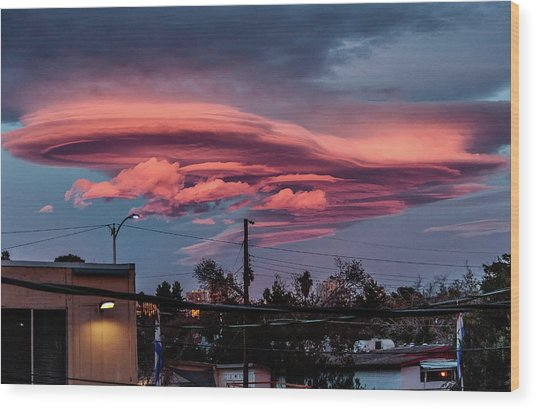 Wood Print featuring the photograph Lenticular Cloud Las Vegas by Michael Rogers