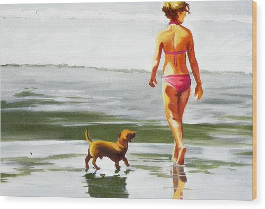 Leo And Kara On The Shore Wood Print by Rhondda Saunders