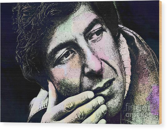 Leonard Cohen - Drawing Tribute Wood Print