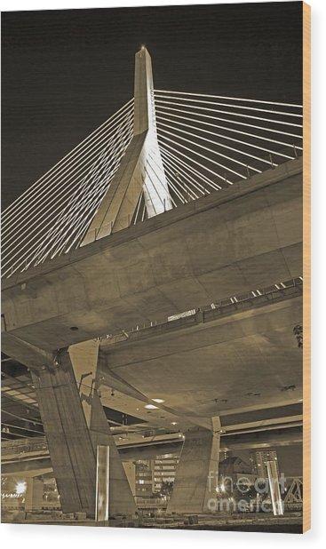 Leonard P. Zakim Bunker Hill Bridge In Sepia Wood Print