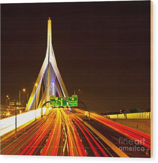 Leonard P. Zakim Bunker Hill Bridge  Wood Print