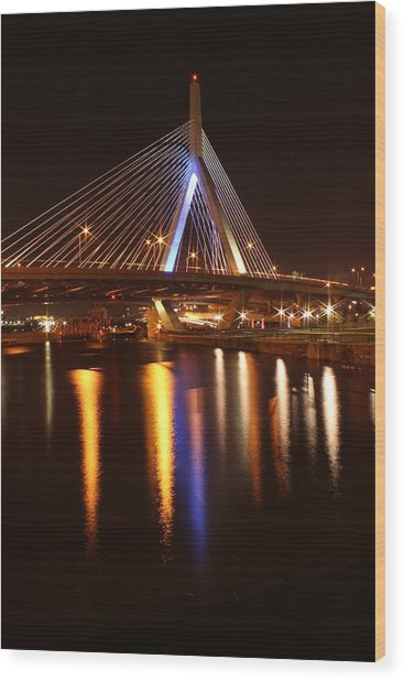Leonard P. Zakim Bunker Hill Bridge Reflection 2 Wood Print