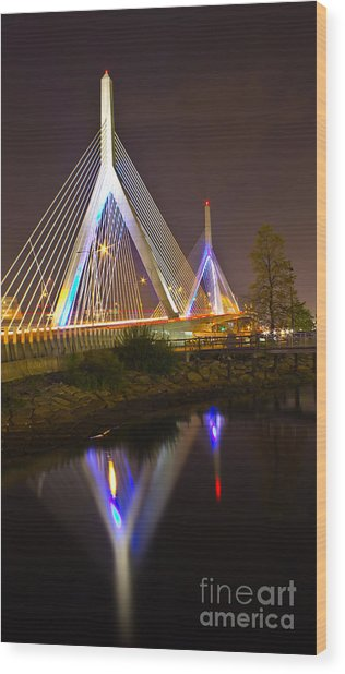 Leonard P. Zakim Bunker Hill Bridge Reflection Wood Print