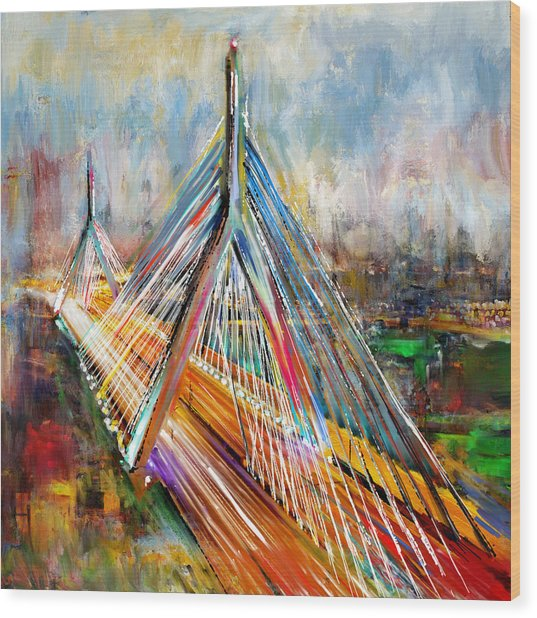 Leonard P. Zakim Bunker Hill Memorial Bridge 219 1 Wood Print