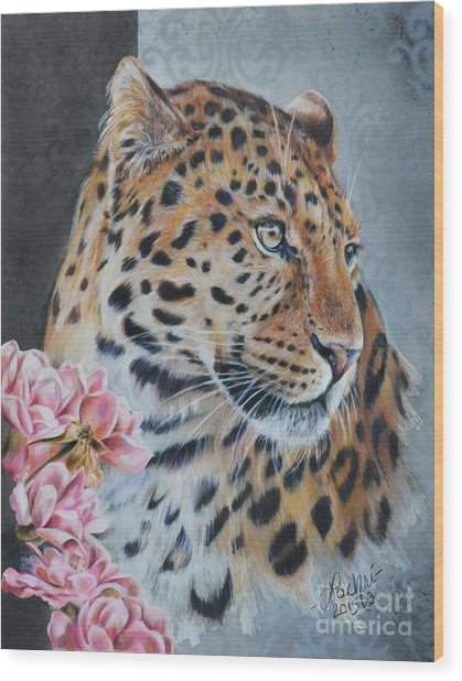 Leopard And Roses Wood Print